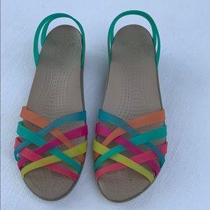 CROCS Multi-colored Strappy Jelly Sandals Size 9